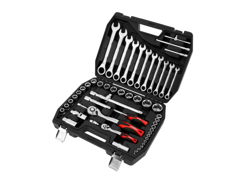 Coffret de clés mixtes et clés à cliquet avec douilles - 54 pièces Chrome Vanadium
