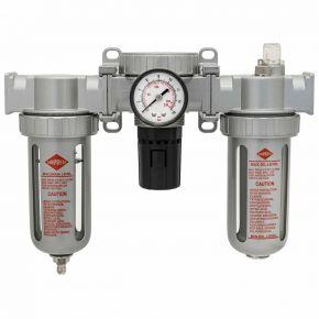 """Filtre séparateur et lubrificateur avec régulateur et manomètre 1/2"""" 0-14 bar"""
