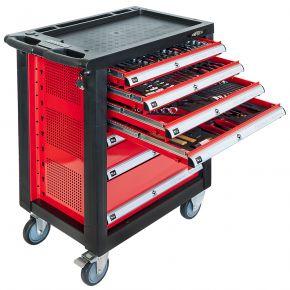 Servante d'atelier 7 tiroirs équipée de 217 outils à main - Professionnelle