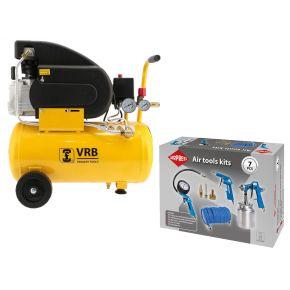 Compresseur 8LC24-1.5 VRB 8 bar 1.5 cv 165 l/min 24 l Plug & Play Pack